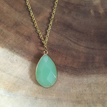 Light Green Necklace, Light Green, Teardrop Pendant, Spring Necklace, Womens Necklace