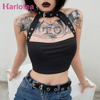 Karlofea Women Tank Top Tee Cotton Black Sexy Choker T-shirt Fashion Belt Halter Streetwear Top Tee Cute Outfit New Crop Tops