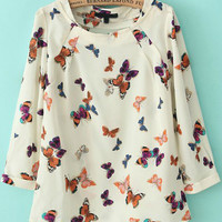 White Butterfly Print Half Sleeve Blouse
