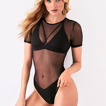 Mesh-Cap-sleeve Bodysuit - Victoria's Secret