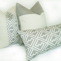 Grey And White Geometric And Burlap Pillow Cover Trio, Set of Three, Decorative Pillow Covers By Pillow Pleasing
