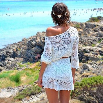 Hollow Out White Lace Dress