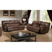 Leighton Transitional Reclining Sofa  and  Loveseat w/ Storage Console, 2-Piece Set