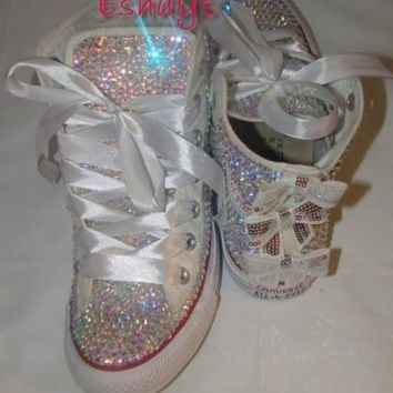 ab sparkly high top converse with sequin silver bow