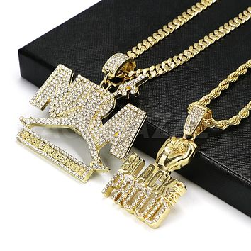 Iced out NBA Never Broke again Pendant/ W Black and Proud Fist Pendant Rope Chain Set