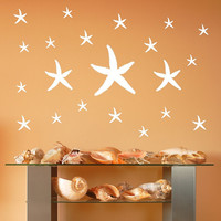Vinyl Wall Decals Starfish Set of 21 Nautical Beach Theme Decals 22520