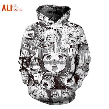 Alisister Ahegao Hoodies Sweatshirt 2018 Autumn Winter Men's Long Sleeve Pullovers Funny 3d Print Tracksuit Plus Size Dropship
