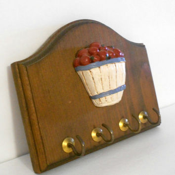 Apple Wooden Key Holder Kitchen Wall Decor with gold colored hooks