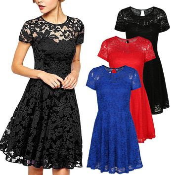 2018 Summer Sexy Women Floral Lace Dress Short Sleeve Vintage Pleated Swing Dress Cocktail Party Dresses Plus Size 3XL 4XL 5XL