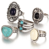 5 Pc./Set Bohemian Vintage Style Knuckle Rings For Women gold or silver