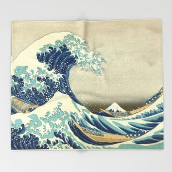 The Classic Japanese Great Wave off Kanagawa Print by Hokusai Throw Blanket by podartist