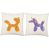 Set of 2 Kid's Balloon Animal Pillows - Unicorn and Cat Throw Pillow Covers with or without Cushion Inserts - Unicorn Pillow, Balloon Print