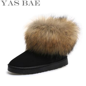 2016 Shop Cheap Australia Hot Sale Cute Winter women's Felt Hair Flat Ankle Snow Boots with Faux Fur Outside for Women femininas