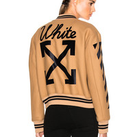 OFF-WHITE Varsity Bomber in Camel & Black | FWRD