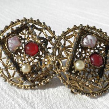 Large Filigree Earrings, Round Filigree Earrings, Art Deco Style Jewelry, Arts and Crafts Style Earrings, Unusual Earring, Romantic Jewelry