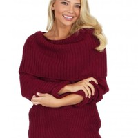 My Way Cable Knit Sweater in Berry | Monday Dress Boutique