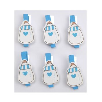Milk Bottle with Heart Wooden Clothespins Baby Favors, 2-Inch, 6-Piece, Blue
