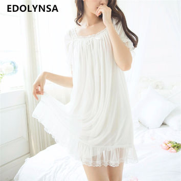 Nightgowns Sleepshirts 2017 Lace Home Dress Sexy Nightwear Women Sleepwear Solid Sleep & Lounge Vintage Nightgown Female #H216