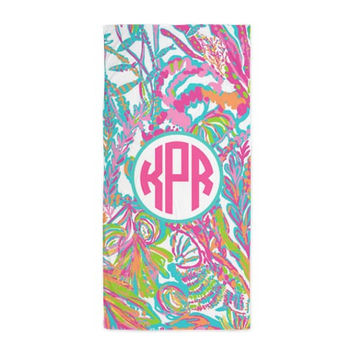 Lilly Pulitzer Inspired Scuba To Cuba Monogram Beach Towel