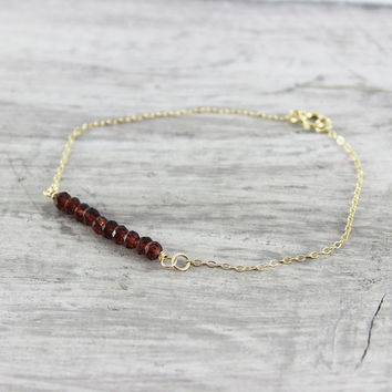 Red Garnet Bracelet, Gold Fill Bracelet, Garnet Gemstone Bracelet, Delicate Gold Bracelet, Dark Red Bracelet, January Birthstone Bracelet