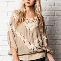Oversized Knit Crochet Top