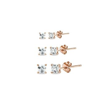 3 Pair Set CZ Square Stud Earrings in Rose Gold Plated Silver, 2mm, 3mm, 4mm