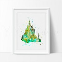 Little Mermaid Castle Watercolor Art Print