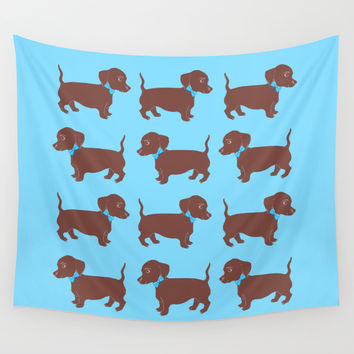Brown Dachshund with Blue Bow Pattern Art Wall Tapestry by Artist Abigail