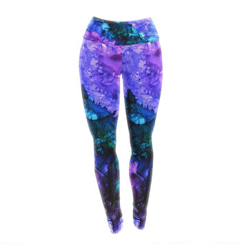 """Claire Day """"Soul Searching"""" Blue Purple Yoga Leggings"""