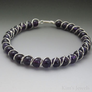 Amethyst Sterling Silver Wire Wrapped Beaded Bracelet