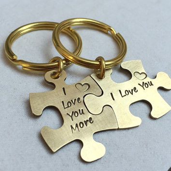 Puzzle piece keychain set, His & Hers, Couples key chain, Couples key ring, Mr. Mrs. keychain, Gold couples keychain, personalized Gift idea