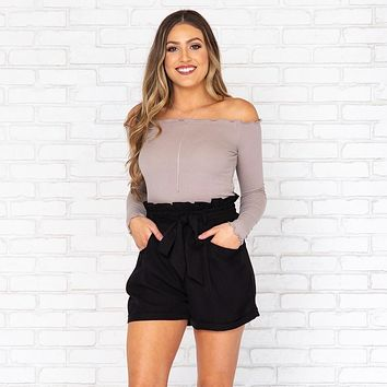 Sweet Thing Off Shoulder Blouse in Stone