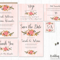 flowers invitation suite invite floral rustic wood peach pink colourful stationary printable diy instant download digital wedding marriage