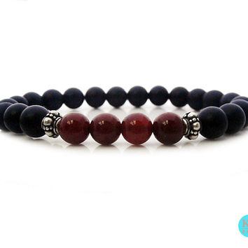 Men's Matte Black Onyx and Red Carnelian Sterling Silver Bracelet, Black Onyx and Red Carnelian Silver Bali Beads Stretch Bracelet