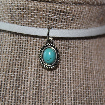 Boho, Gemstone, Turquoise Necklace, Healing, Native American, Silver Turquoise, Tribal, Leather Choker, Southwest, Teardrop, Tibetan,Vintage