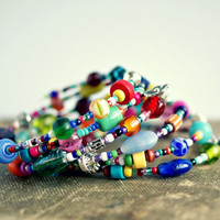 memory wire bracelet eclectic colorful beaded