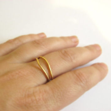 delicate bent ring, stacking ring, gold plated, one of a kind, wedding, amorphous ring, stackable, studio baladi, gift for friend, love
