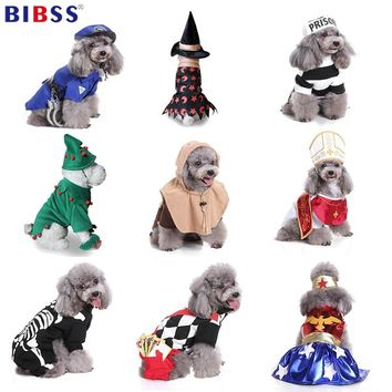 Pet Dog Clothes For Small Dogs Winter Christmas Halloween Clothes Dresses Warm Cat Coat Pumpkin Wizard Transform Funny Costume