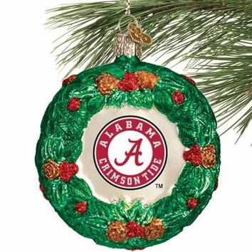 Alabama Crimson Tide Glass Wreath Ornament - http://www.shareasale.com/m-pr.cfm?merchantID=7124&userID=1042934&productID=525455670 / Alabama Crimson Tide