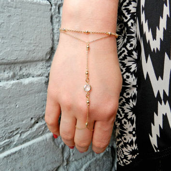 Crystal 14kt Gold Fill Hand Chain, Swarovski Element Crystal Bracelet, Gold Slave Bracelet, Gold Ring Bracelet, Gift For Her