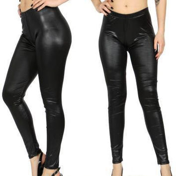 Black  Pleather Leggings in S/M and L/XL