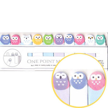 Small Baby Owl Shaped Bird Sticky Memo Post-it Index Bookmark Tabs in Pastel Colors | Cute Animal Themed Paper Goods