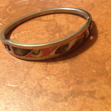 Vintage Alpaca Silver Bracelet Colorful Inlay Abalone Mexico Jewelry