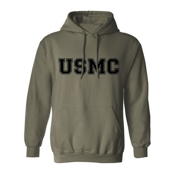 """USMC"" Athletic Marines Hooded Sweatshirt in Military Green"