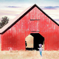 Boy and a Barn #digitalpainting by Andrea Anderegg Photography