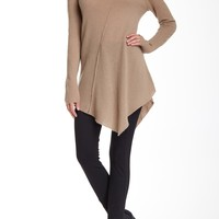 Seam Detail Asymmetrical Cowl Neck Cashmere Sweater