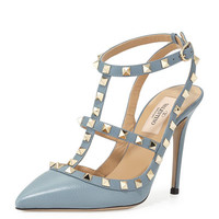 Valentino Rockstud Leather 100mm Pump, Gray