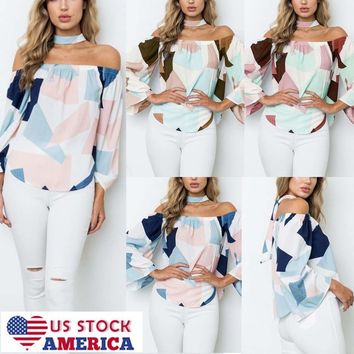 US Women Cold Shoulder Casual Tops Loose Blouse Ladies OL Bell Sleeve Tee Shirt