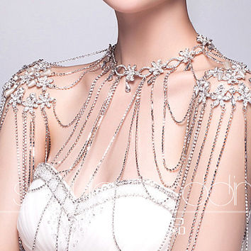 Wedding Sleeveless Dress Shoulder Necklace, Shoulder Tassel Jewellry, Bridal Rhinestone Beaded Flower Epaulettes,Shoulder Cover Necklace