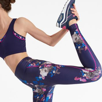 Swift print Navy Floral Active Print Leggings | Joules US